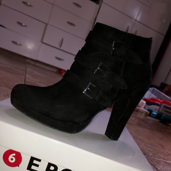 Shoes - Black sued ankle boots